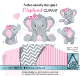 Girl pink and gray elephant clipart