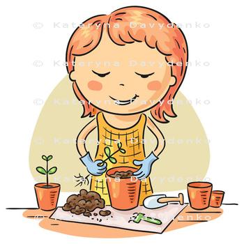 Girl planting seedlings into flowerpots