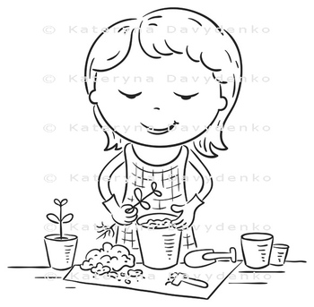 Girl planting seedlings into flowerpots