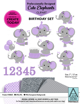 Girl purple and gray elephant clipart birthday clipart cake clipart