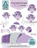 Girl purple owl clipart