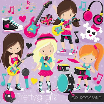 Girl rock band clipart commercial use, vector graphics, digital - CL808