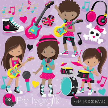 Girl rock band clipart commercial use, vector graphics, digital - CL809