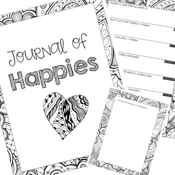 Self Esteem Coloring Journal and Happiness Calendar