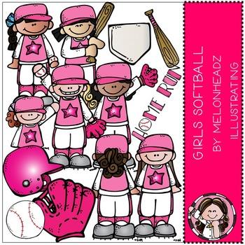 Melonheadz: Girl's softball clip art - COMBO PACK