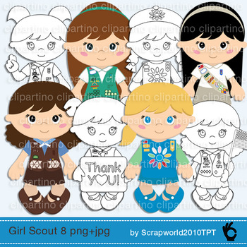 Girl scout clipart,brownie,daisy,junior,cadette,coloring,stamps,black and white