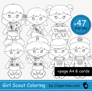 Girl scout coloring,daisy,brownie,cadette,junior clipart +card+A4 set 47 files!