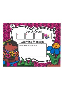 Girl with Flowers Lunch Count and Morning Message