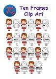 Girl with Ten Frames Clipart