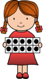 Girl with Ten Frames Clipart Freebie