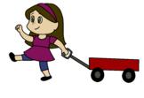 Girl with a wagon