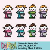 Girl with baking mixer clip art