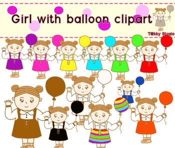 Girl with ballon clipart