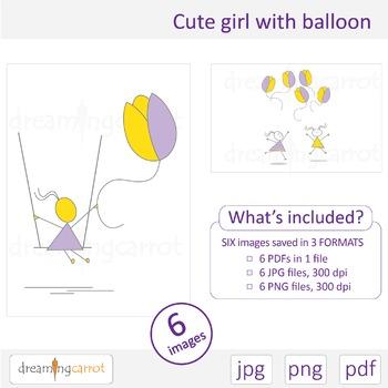 Girl with balloon clip art. Easter, spring, summer, tulip, flower, air balloon