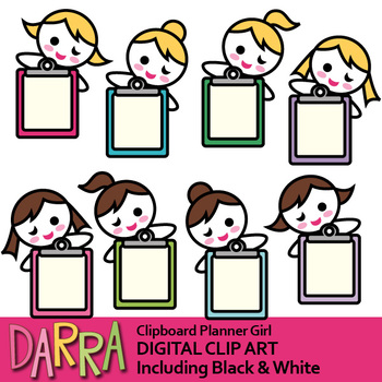 Girl with clipboard clip art (planner sticker clipart)