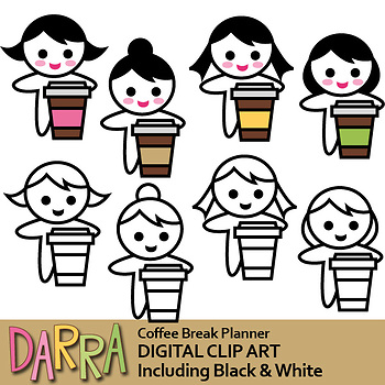 Girl with coffee cup clip art