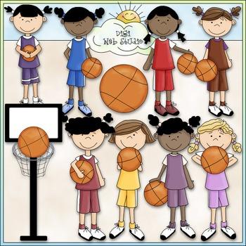 Girls Basketball 1 - Commercial Use Clip Art & Black & Whi