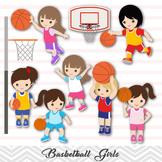 Girls Basketball Clipart, Girl Basketball Digital Clip Art, Sport Clipart, 0258