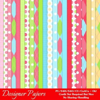 Girls Birthday Colors Pattern Digital Papers