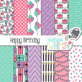 Girls Birthday Digital Paper - pink, purple, & turquoise