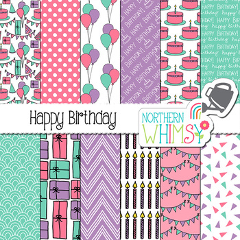 Girls Birthday Digital Paper - pink, purple, & turquoise