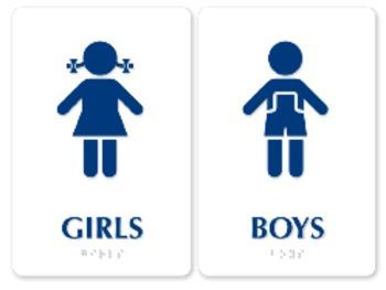 Girls boys bathroom signs by debbie nicotera tpt for Boy and girl bathroom door signs