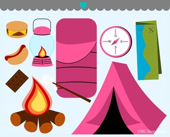 Girls camping glamping clipart commercial use