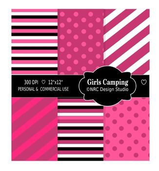 Girls Camping Trip Paper Pack - Commercial Use Printable Paper
