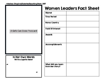 Girls Can Crate Fact Sheet Journal Page