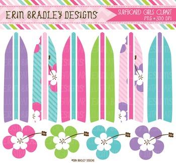 Girls Clipart - Surfboard Graphics