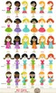 Kids Cliparts : Girls, Friends, Different Hair colors,