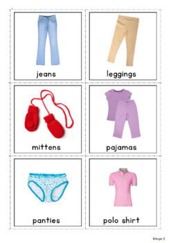 Girls Clothing Cards for Speech Therapy and ESL