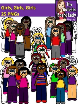 Girls Girls Girls Clipart (for Personal and Commercial Use)