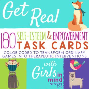 Girls Group: Self-Esteem & Empowerment Task Cards *Fun School Counseling Game