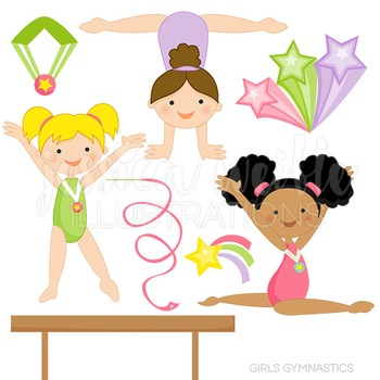 Girls Gymnastics Cute Digital Clipart, Gymnastics Clip Art
