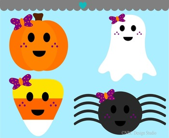 Girls Halloween pumpkin ghost candy spider clipart commercial use