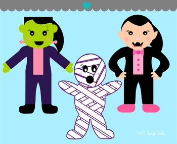 Girls Halloween monsters clipart commercial use