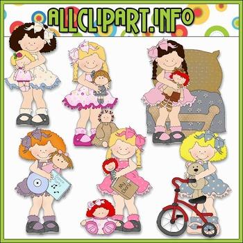Girls Love Toys Clip Art - Cheryl Seslar Clip Art