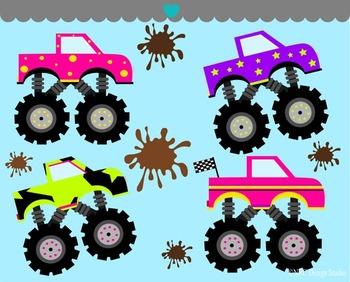 Girls monster trucks clipart commercial use