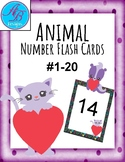 Girls Number Flashcards #1-20. Cute Heart Animals. Cats Do