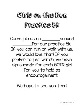 Girls On The Run Practice 5K Reminder