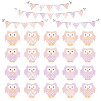 Girls Pastel Owl Vectors & Papers - Owl Clipart, Owl Clip Art, Baby Owls
