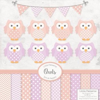 Girls Pastel Owl Vectors & Papers - Owl Clipart, Owl Clip Art, Baby Owls