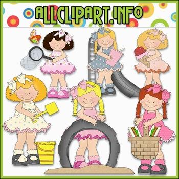 Girls Play Date Clip Art - Cheryl Seslar Clip Art