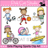 Girls Summer Sports Clip Art - soccer, basketball, softball, swimming, biking