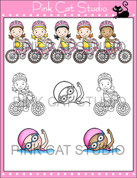 Girls Summer Sports Clip Art - soccer, basketball, softball, swimming, biking