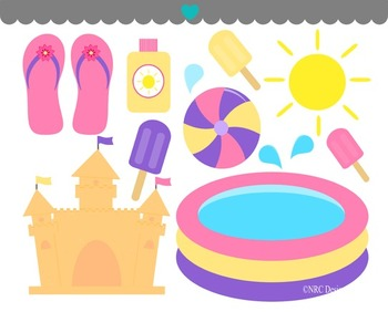 Girls pool summer clipart commercial use