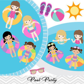 Girls Pool Party Clip Art Swim Summer 00197