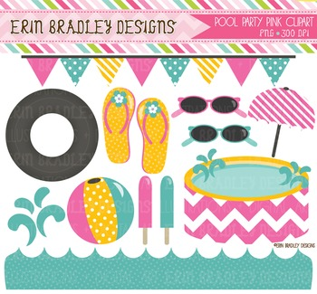 Girls Pool Party Clipart - Sunglasses Flip Flops Beach Ball Umbrella