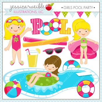 Girls Pool Party Cute Digital Clipart, Pool Clip Art, Summer Swimming Graphics